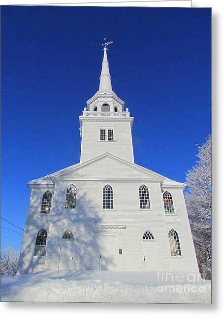 Old Maine Houses Greeting Cards - The Old Meeting House Greeting Card by Elizabeth Dow