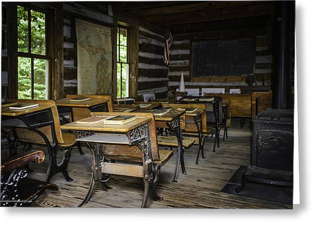 Log Cabin Interiors Greeting Cards - The old Mikado Bailey school house Greeting Card by LeeAnn McLaneGoetz McLaneGoetzStudioLLCcom