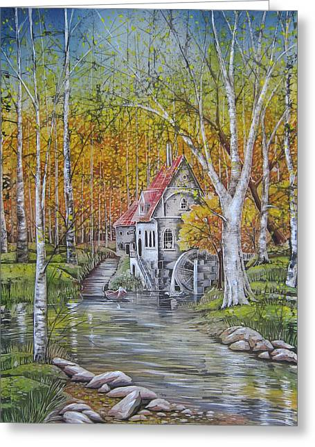 Beach Landscape Tapestries - Textiles Greeting Cards - The Old Mill Greeting Card by Alena Priest