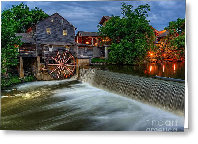 The Old Mill At Twilight Greeting Card by Anthony Heflin