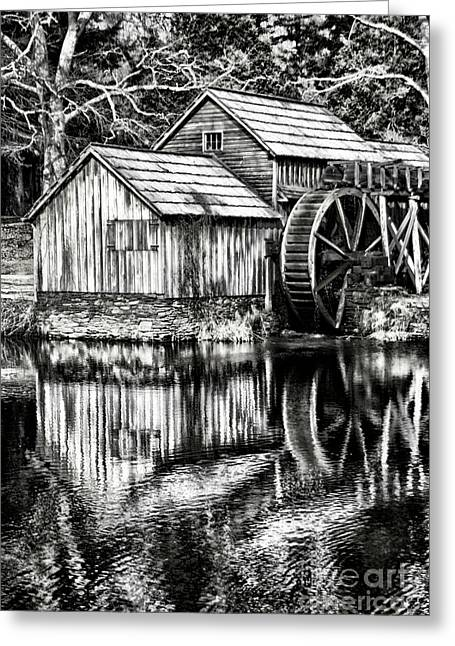 The Old Mill Black And White Greeting Card by Darren Fisher