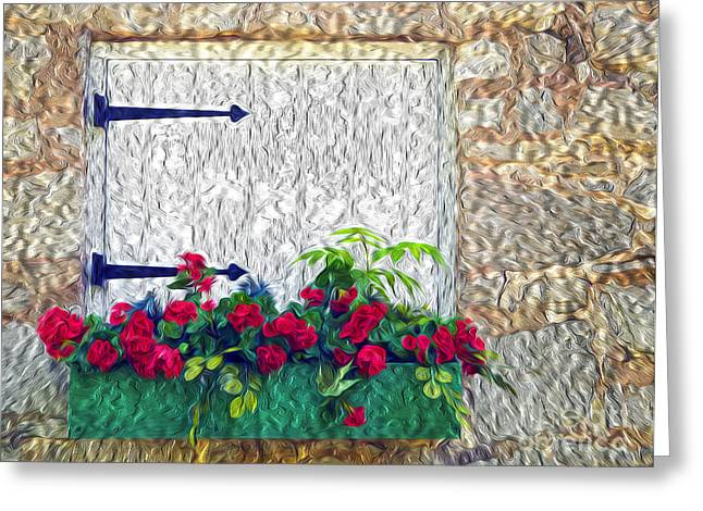 Flower Boxes Greeting Cards - The Old Mill Flower Box Greeting Card by Paul W Faust -  Impressions of Light