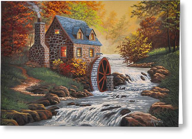 Old Mill Scenes Paintings Greeting Cards - The Old Mill Greeting Card by Gary Adams