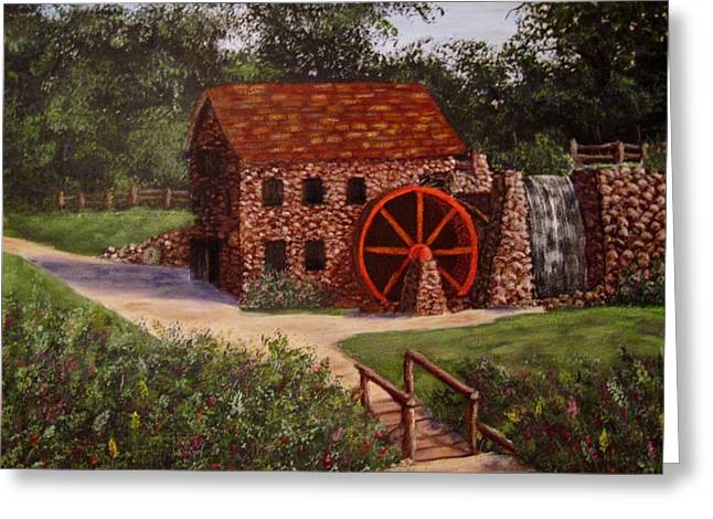 Grist Mill Paintings Greeting Cards - The old mill Greeting Card by Megan Walsh