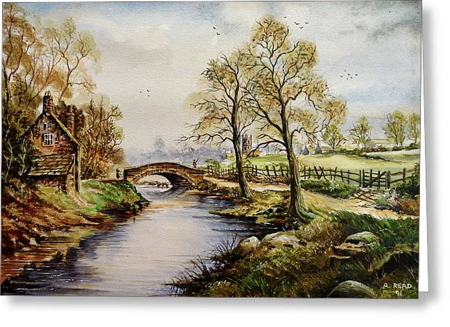 The Old Mill Path Greeting Card by Andrew Read