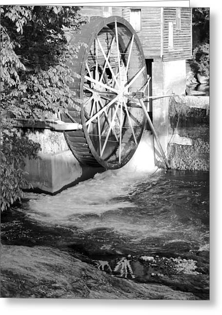 Tennessee Historic Site Photographs Greeting Cards - The Old Mill Water Wheel Pigeon Forge Tennessee - BW Greeting Card by Cynthia Woods