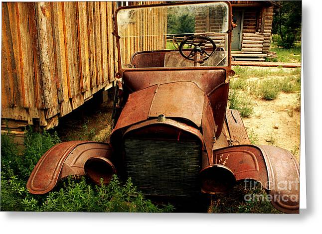 Pastimes Greeting Cards - The Old Model T Out Back Greeting Card by Janice Rae Pariza