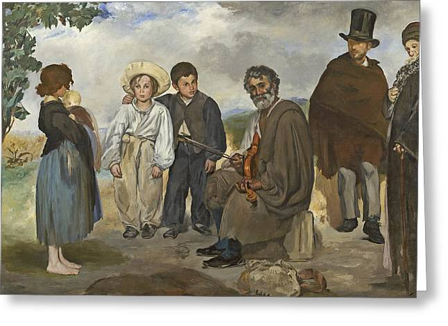 The Old Musician Greeting Card by Edouard Manet