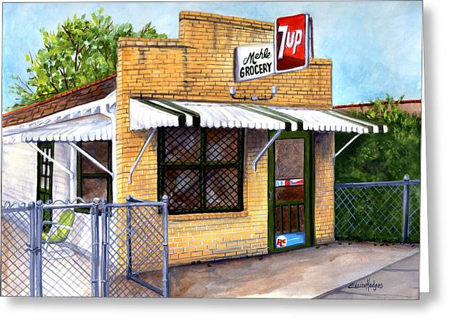 Grocery Store Greeting Cards - The Old Neighborhood Grocery Greeting Card by Elaine Hodges
