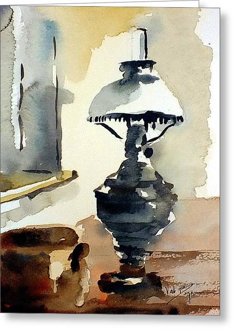 Oil Lamp Mixed Media Greeting Cards - The Old Oil Lamp Greeting Card by Val Byrne