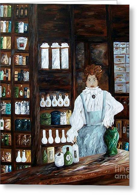 Waiting Room Greeting Cards - The Old Pharmacy ... Medicine in the Making Greeting Card by Eloise Schneider