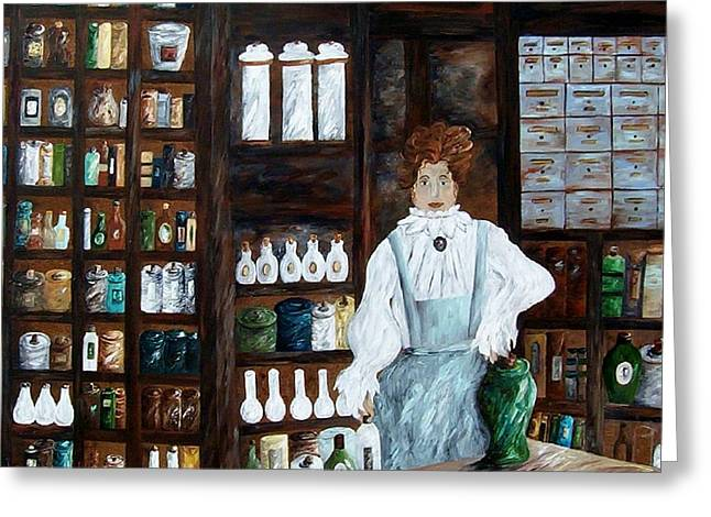 Pill Paintings Greeting Cards - The Old Pharmacy ... Medicine in the Making Greeting Card by Eloise Schneider