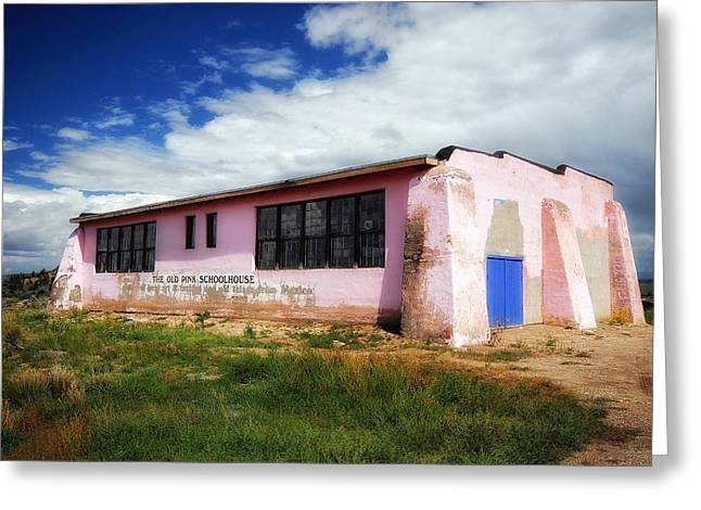 Abandoned School House. Greeting Cards - The Old Pink Schoolhouse Greeting Card by Ghostwinds Photography