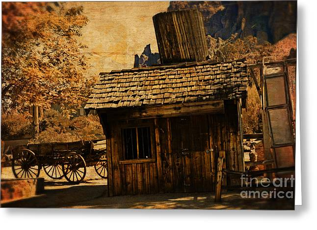 The Old Prospector's Shack Greeting Card by Beverly Guilliams