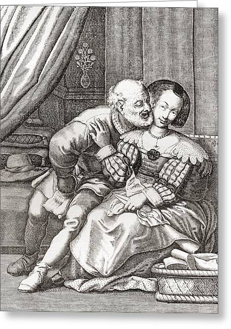 Older Couple Greeting Cards - The Old Prurient, After A 16th Century French Engraving By Jaspar Isaac.   From Illustrierte Greeting Card by Bridgeman Images