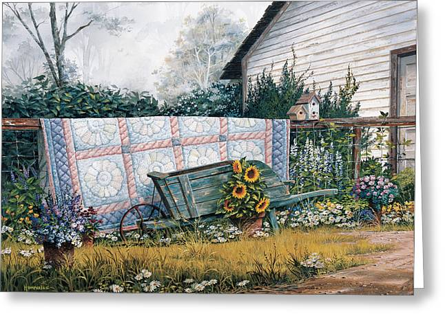 Shed Paintings Greeting Cards - The Old Quilt Greeting Card by Michael Humphries