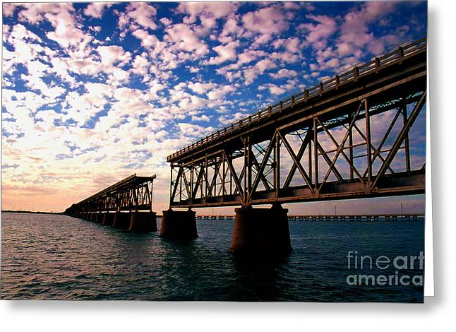 Traveling Greeting Cards - The Old Rail Road Bridge in the Florida Keys 2 Greeting Card by Susanne Van Hulst