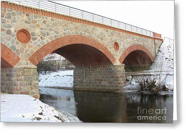 Pandute Digital Art Greeting Cards - The Old Railway Bridge In Silute. Lithuania. Winter Greeting Card by Ausra Paulauskaite