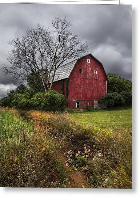 Michigan Farmhouse Greeting Cards - The Old Red Barn Greeting Card by Debra and Dave Vanderlaan