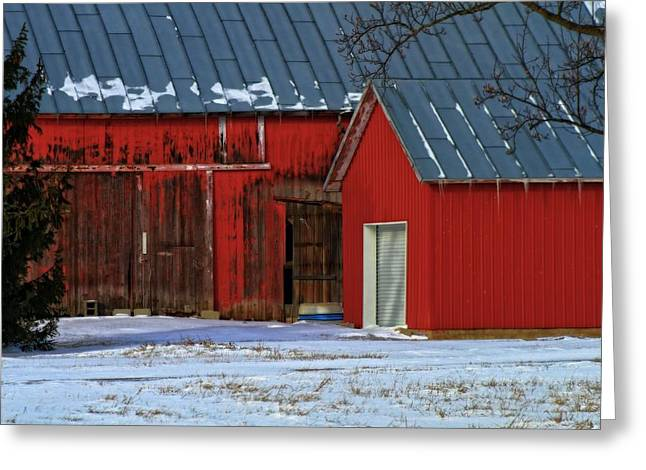 Red Barn In Winter Greeting Cards - The Old Red Barn In Winter Greeting Card by Dan Sproul
