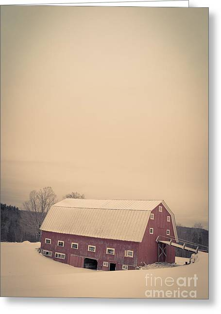 Background Greeting Cards - The Old Red Cow Barn in Winter Greeting Card by Edward Fielding