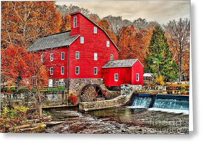 Red Mill Historic Village Greeting Cards - The Old Red Mill Greeting Card by Nick Zelinsky