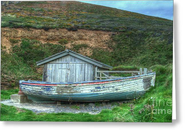 Wooden Shed Greeting Cards - The old Rowing Boat  Greeting Card by Rob Hawkins