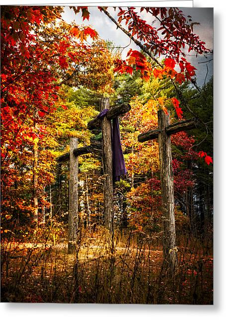 Three Trees Greeting Cards - The Old Rugged Cross Greeting Card by Debra and Dave Vanderlaan