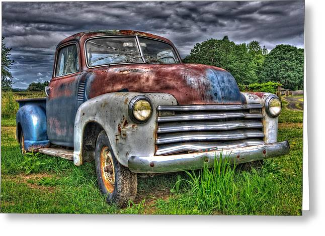 Automotive Greeting Cards - The Old Rusty Chevy Pickup Greeting Card by Thom Zehrfeld