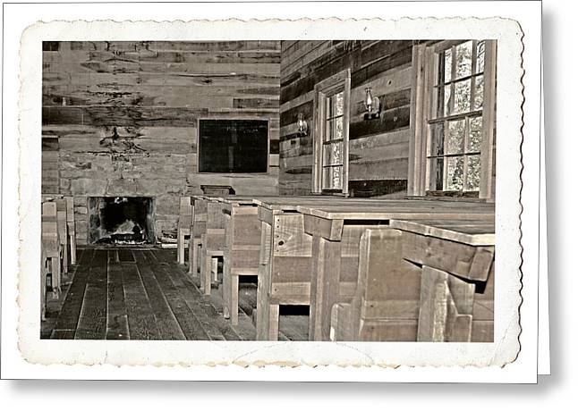 The Old Schoolhouse Greeting Card by Susan Leggett