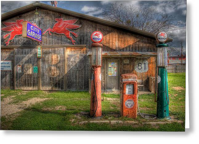 The Old Service Station Greeting Card by David and Carol Kelly