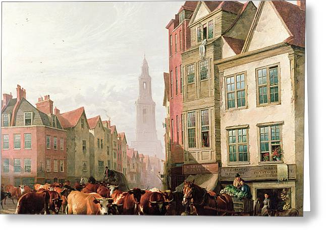 Horse And Cart Paintings Greeting Cards - The Old Smithfield Market Greeting Card by Thomas Sidney Cooper
