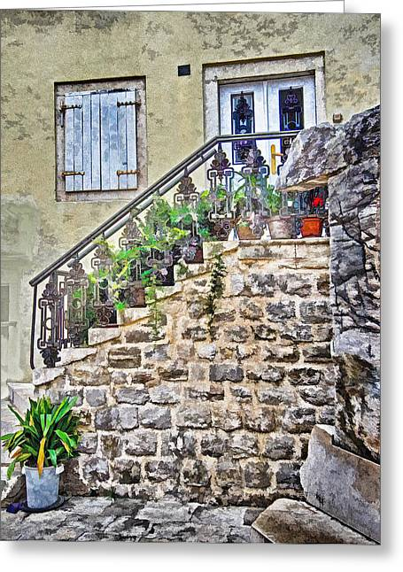 Stepping Stones Mixed Media Greeting Cards - The Old Stairs Greeting Card by Richard Dagostino