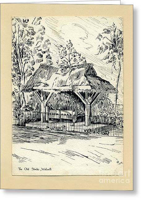 Thatch Drawings Greeting Cards - The Old Stocks Walsall Greeting Card by John Chatterley