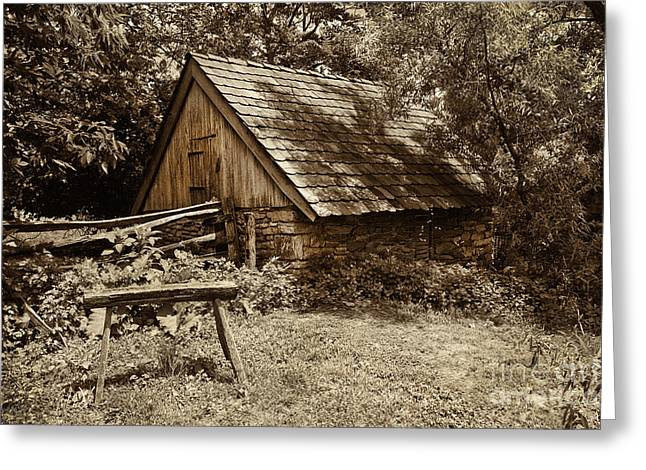 Stone Barn Greeting Cards - The Old Stool Greeting Card by Paul W Faust -  Impressions of Light