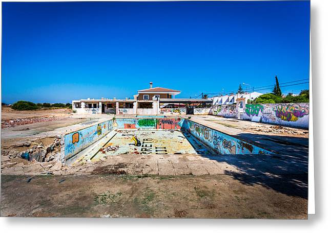 Redundant Greeting Cards - The Old swimming Pool. Greeting Card by Gary Gillette