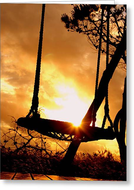 Sun Porches Greeting Cards - The Old Swing at Sunset Greeting Card by Mountain Dreams