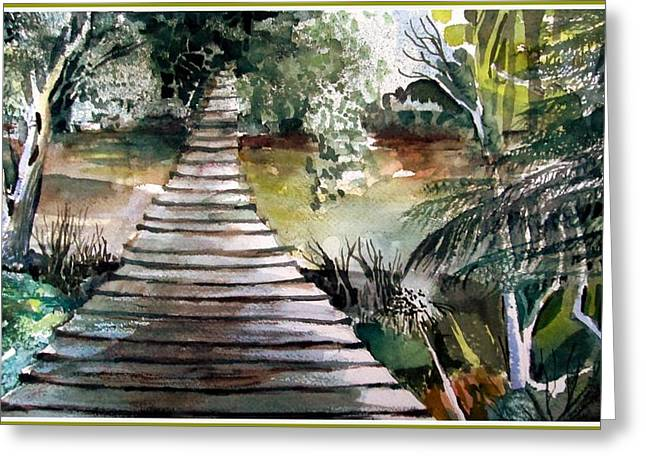The Old Swinging Bridge Greeting Card by Mindy Newman