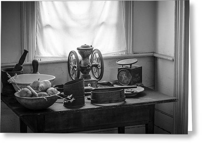 Mystic Setting Greeting Cards - The Old Table by the Window - Wonderful memories of the past - 19th Century table and window Greeting Card by Gary Heller