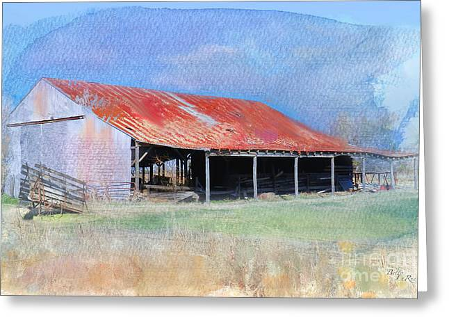 Rusty Tin Roof Greeting Cards - The Old Tin Barn Greeting Card by Betty LaRue