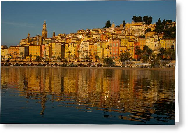 Menton Greeting Cards - The old town of Menton Greeting Card by Christine Valin Photos