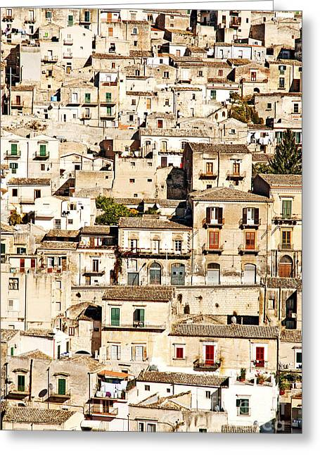 Italian Med Greeting Cards - The Old Town Of Modica Sicily  Greeting Card by Jacek Malipan