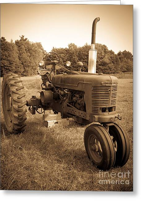 Monochromatic Greeting Cards - The Old Tractor Greeting Card by Edward Fielding
