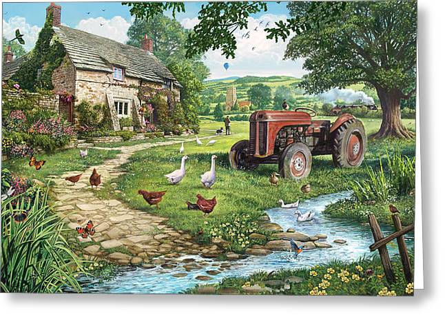 English Cottages Greeting Cards - The Old Tractor Greeting Card by Steve Crisp
