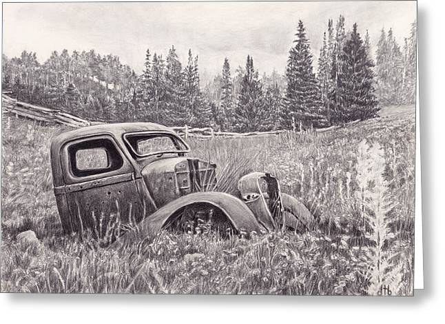 Rusted Cars Drawings Greeting Cards - The Old Truck at Rest Greeting Card by Diane Bay