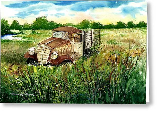Award Winning Art Greeting Cards - The Old Truck Greeting Card by Steven Schultz