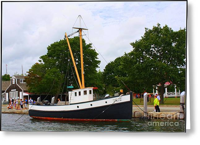 The Old Tugboat At Mystic Greeting Card by Dora Sofia Caputo Photographic Art and Design