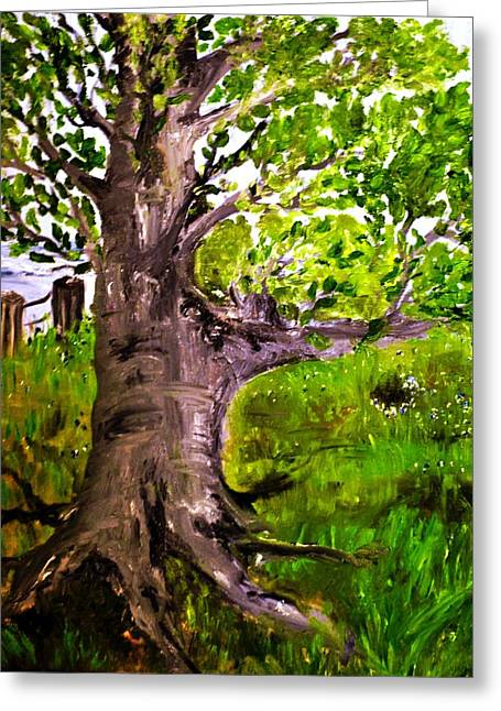 Tree Roots Paintings Greeting Cards - The Old Walnut Greeting Card by Evelina Popilian