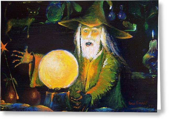 Fairy Painter Greeting Cards - The Old Warlock Greeting Card by Dan Smart