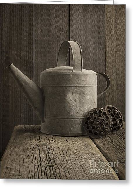Galvanize Photographs Greeting Cards - The old watering can Greeting Card by Edward Fielding
